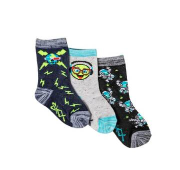 Boys' 3 Pack Non Terry Crew Socks